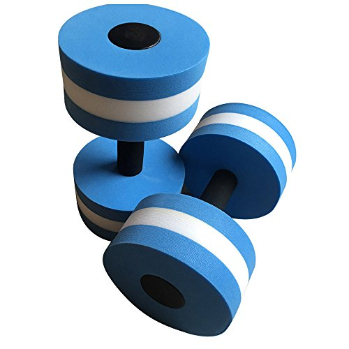 PPkloth Aquatic Exercise Dumbbells- 2pcs Water Aerobics Dumbbells EVA Aquatic Barbell- Fitness Aqua Pool Exercise Set (10.63 X 5.71 inch, Blue)