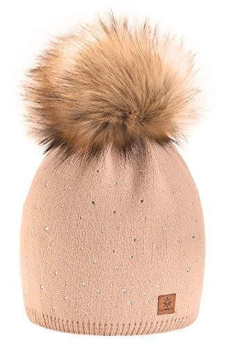 morefaz Wurm Winter Strickmütze Mütze Damen Kristalle Kiesel mit Große Bommel Pompon l SKI (Beige) (MFAZ Ltd)