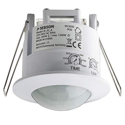 SEBSON® Bewegungsmelder Innen, Unterputz Decken Montage, programmierbar, Infrarot Sensor, Reichweite 6m / 360°, Einbau Bewegungssensor LED geeignet, 3-Draht