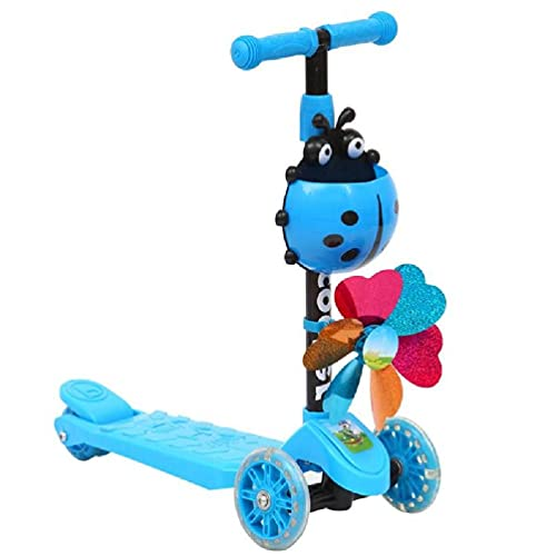 Windmill Ladybug Scooter plegable y ajustable altura inclinada para dirigir 3 ruedas Scooters para niños y niñas de 3 a 8 años reloj de decoración de pared molino de viento