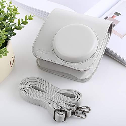 GLAUKS Estilo Retro Amplia Caja de la cámara Cuerpo de la PU Bolsa de Cuero con Correa for instax FUJIFILM Mini-9 / Mini-8 + / 8 Minifalda (Negro) Estuche para la Camara (Color : White)