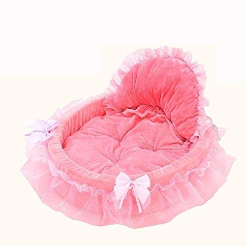 Bodhi2000 Mascota Perro Cachorro Princesa Encaje Elegante Cama Doghouse Mascotas Warm Bed