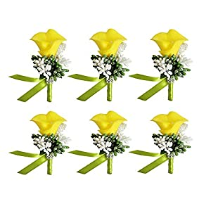 MOJUN Groom Groomsman Calla Lily Boutonniere Buttonholes Corsage Calla Lily Flowers Brooch for Wedding Prom Party, Pack of 6, Yellow