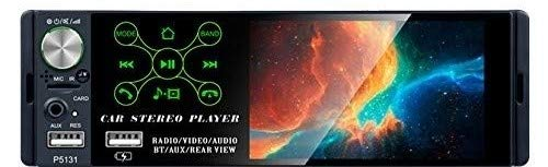 TOYOUSONIC Radio del Coche 1 DIN 4.1 Pulgadas Pantalla Táctil Autoradio Bluetooth Llamadas Manos Libres MP5 FM/Am/RDS USB con Cámara de Visión Tras