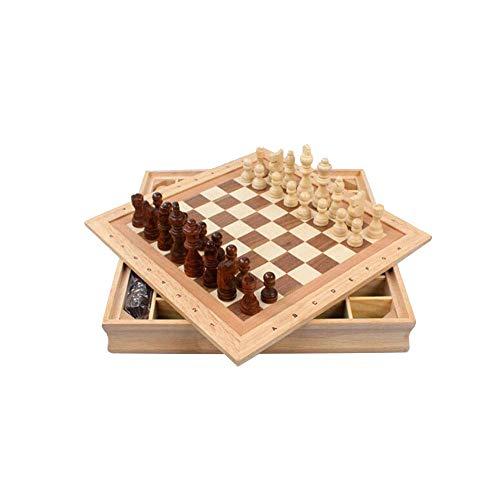 Yinghuawen Puzzle aus Holz dreidimensionales Schach, tragbares Schachspiel, leicht zu verstauen (35 * 35 * 4,7 cm)