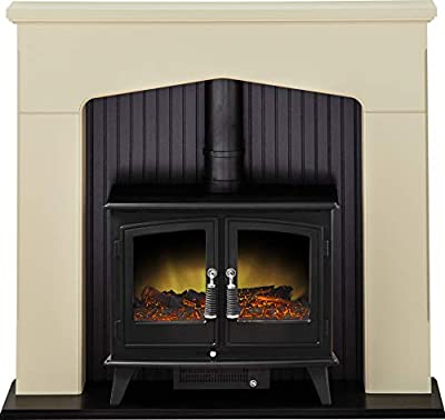 Adam Ludlow Stove Suite in Stone Effect with Woodhouse Electric Stove in Black, 48 Inch