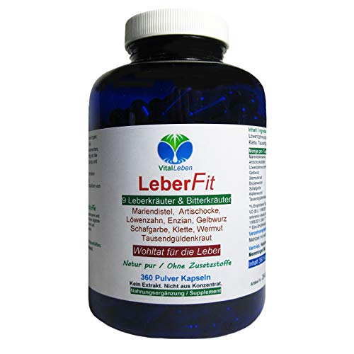 Leber FIT 9 Leberkräuter & Bitterkräuter 360 Kräuter Kapseln. Wohltat für alle normalen Leberfunktionen NATUR pur OHNE Zusatzstoffe. 26459-360