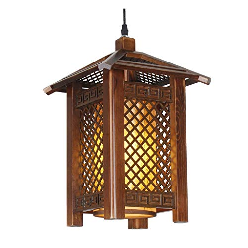 N/Z Home Equipment Pendant Light Solid Wood Restaurant Antique Fish Line Small Chinese Style Wood Dining Lighting Restaurant Restaurant Engineering Lamps Pendant Lights (Size : M)