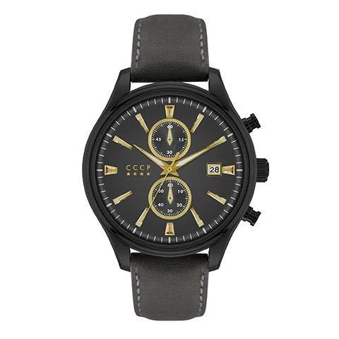 CCCP Sputnik-2 CP-7028-07 - Reloj de piel con esfera negra de 43 mm