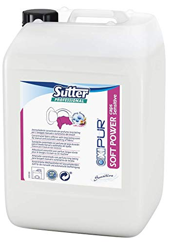 Sutter Soft Power Caps Sensitive wasverzachter concentraat dermatologisch getest met duurzame microcapsules voor handmatige en automatische reiniging van de stoffen – doos: jerrycan kg.20