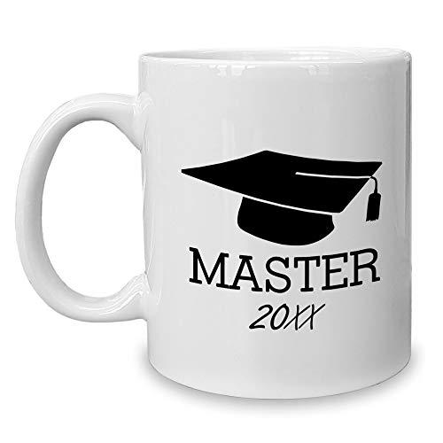 Shirtdepartment - Kaffeebecher - Tasse - Master mit Wunschjahr Weiss-schwarz