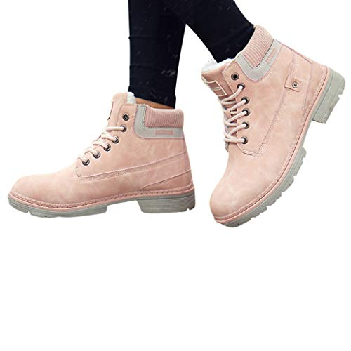 LIANGJIANG Boots for Women, 2021 Fashion Winter Women Lace-Up Outdoor Sport Shoes Keep Warm Mountaineering Boots A-Pink 9
