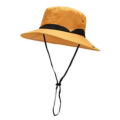 Zpuzge Sombrero de sol para exterior, hombre y mujer, sombrero de pescador, sombrero para el sol, elegante y plegable, ala ancha amarillo Talla única