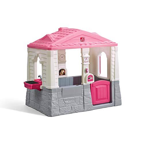 Step2 Neat and Tidy Cottage Spielhaus in Rosa| Kunststoff Spielhaus für Kinder mit Küche, Klingel und Zubehör