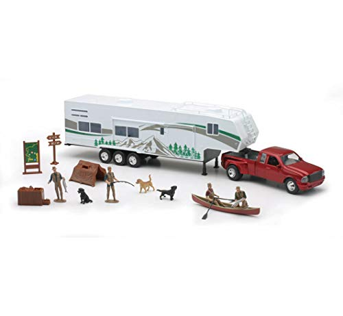 Collectible Diecast 1:32 Scale Ford Dually Pickup Model Toy Truck Replica with Fifth Wheel Camper Trailer & Camping Adventure Set with Accessories for Hobbyists, Collectors, & Kids, Red/Multicolor, 21 x 4.75 x 3 Inches