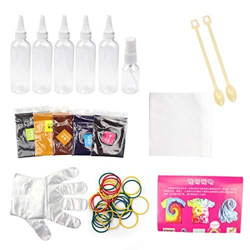 Hemisgin Kits Tie Dye, Kits De Tinte DIY para Adultos Y Niños, Pigmentos De Teñido De Graffiti Hechos A Mano para Ropa Y Kits Tie Dye para Niños (8,5 G por Paquete, 5 Paquetes En Total) Usual