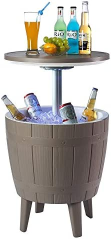 Nuzanto 37L 39 2Qt 9 8Gallon Wood Texture LED Beer Wine Ice Cooler All Weather Adjustable Patio product image