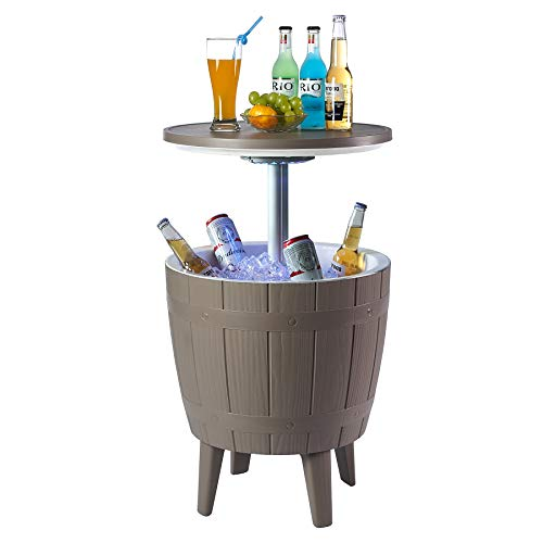 Nuzanto 37L/39.2Qt/9.8Gallon Wood Texture LED Beer Wine Ice Cooler All-Weather Adjustable Patio Cool Bar Hot Tub Ice Bucket Cocktail Coffee Side Table Outdoor Furniture Party Pool Deck Backyard Brown