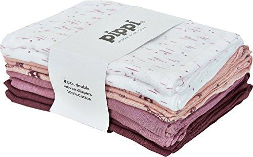 pippi Mulltücher 8er-Pack rosa/beere/weiß Größe 70x70 cm