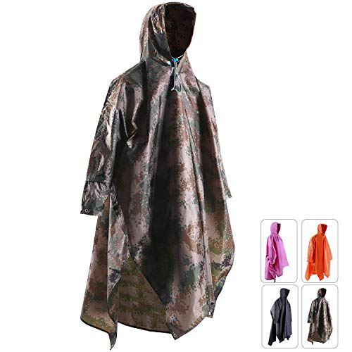 REDCAMP Waterproof Rain Poncho with Hood and Arms for Camping Hiking, 3 in 1 Multifunctional Lightweight Reusable Raincoat Poncho for Men Women Adults Camouflage