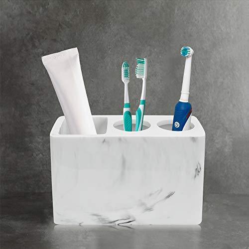 FAVENGO Zahnbürstenhalter Weiß Zahnbürstenständer Harz Zahnbürsten Halterung Marmor Muster Zahnbürsten Aufbewahrung mit 2 Zahnbürstenfächer + 1 Zahnpastafach für Elektrische Zahnbürsten Zahnpasta Bad