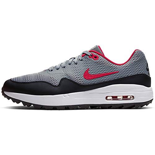 Nike Air MAX 1 G, Golf Shoe Hombre, Gris Partícula/Negro/Blanco/Rojo Universitario, 44.5 EU
