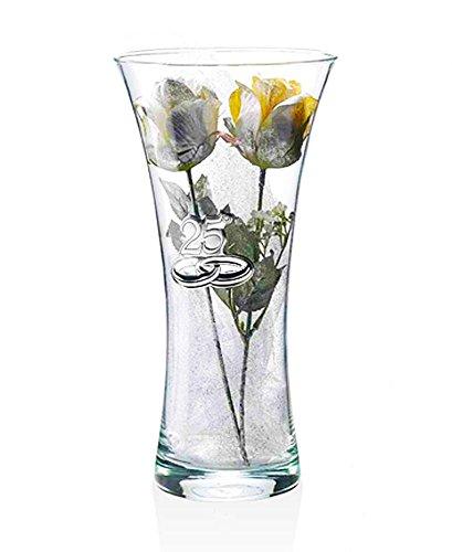 Vaso 25° Anniversario matrimonio | Cristallo e Argento | Altezza 25 cm | 2R argenti