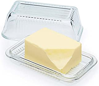 Circleware Farm Glass Butter Dish with Glass Lid, Multi-Purpose Preserving Serving Dessert Dish Tray, 6.75