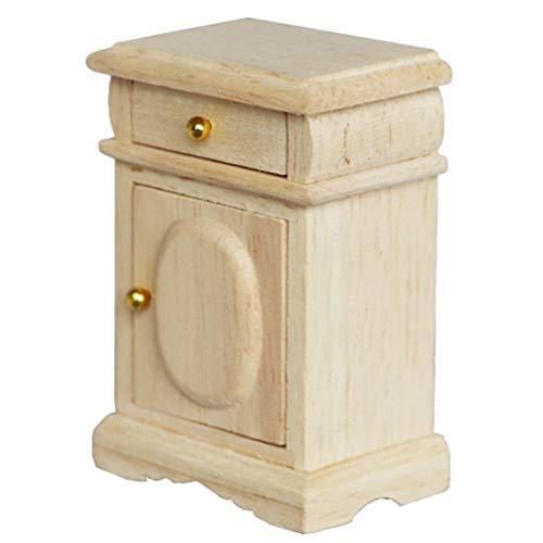 NUOBESTY Miniatur Puppenhaus Nachttisch Schublade 2 Schubladen Kommode Nachttisch Miniatur Schlafzimmermöbel Nachttisch Kommode