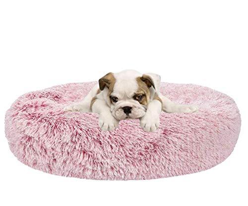 不适用 Super Soft Dog Mat Round Washable Long Plush Dog Kennel Cat House Velvet Mats Sofa for Dog Basket Pet Bed (16inch, Pink)
