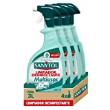 Sanytol - Limpiador Desinfectante Multiusos, Elimina Bacterias, Hongos y Virus Sin Lejía, Perfume Eucaliptus - Pack de 4 x 750 ml = 3L