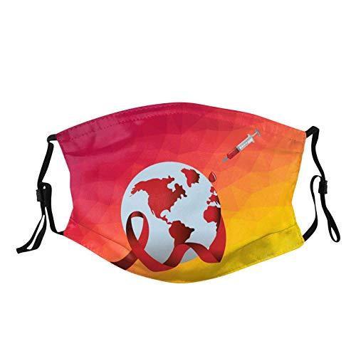 1 Piezas Reutilizables Lavables con Bolsa de Filtro y Correa de Oreja Ajustable, Sello de Tema Anti-cáncer de SIDA Dibujos, Unsex Adultos Mujer