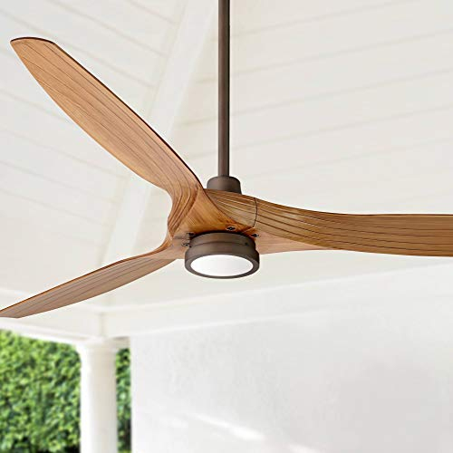 "60"" Aireon Modern Rustic Outdoor Ceiling Fan with Light LED Remote Control Rubbed Bronze Walnut Finish Blades Damp Rated for Patio - Casa Vieja"