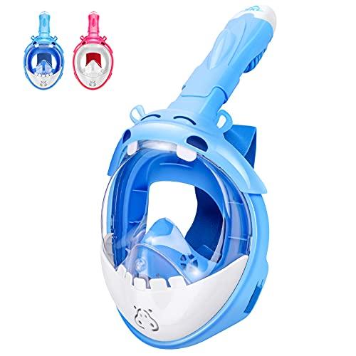 SKL Schnorchelmaske Vollmaske Tauchmaske Vollgesichtsmaske Tauchermaske mit 180° Sichtfeld und Kamerahaltung, Dichtung aus Silikon Anti-Fog und Anti-Leck Technologie Kinder (BLAU)