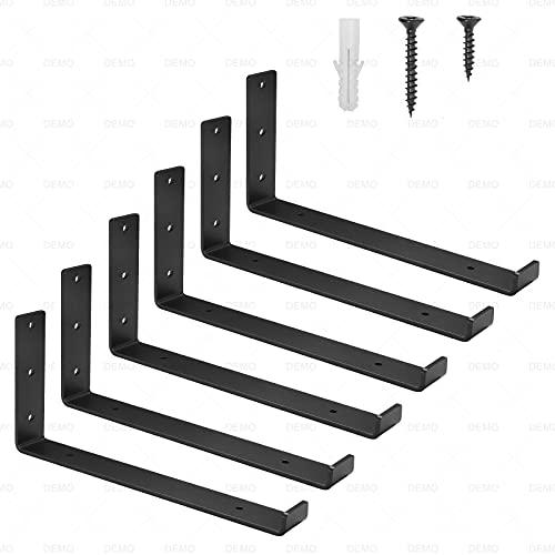 Shelf Brackets 10 Inch, Heavy Duty Floating Shelf Bracket -6 Packs,Decorative Metal Shelf for Corner Angle Brackets,Black J Iron ShelvesBracketswith Lip for Wall Shelves(not Include Wood Boards)