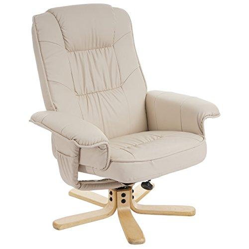 Mendler Relaxsessel Fernsehsessel Sessel ohne Hocker M56 Kunstleder ~ Creme