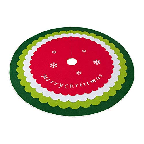 Takefuns Non-woven Scalloped Christmas Tree Skirt Felt 4 Layers DIY 48 inches Big Xmas Festive Holiday Party Supplies Ornaments