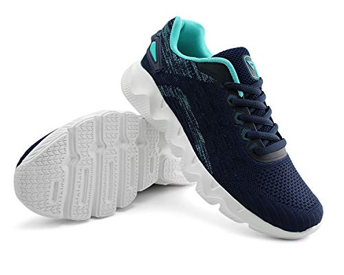 JABASIC Womens Casual Running Tennis Shoes Lightweight Breathable Sneakers (9.5,Navy)