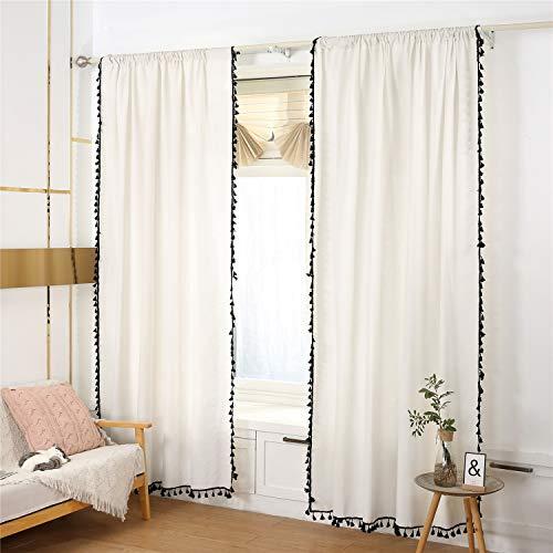 YOU SA 2PCs Semi Blackout Farmhouse Boho Bohemian Style Window Drapes Rod Pocket Window Curtain Panel with Black Tassels (59''x102'',2-Panel)