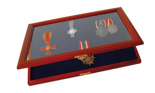 SAFE 5873 Echt Holz Vitrine für Orden | 4mm dicke herausnehmbare königsblaue Samteinlage zum Einhängen bzw. Befestigen der Orden | Abmessungen : 375x260x30 mm