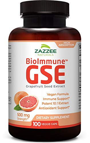 Zazzee BioImmune™ Grapefruit Seed Extract 500 mg 100 Vegan Capsules, High Absorption, Potent Immune Support Blend, 10:1 Extract, Non-GMO and All-Natural