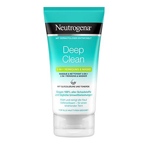 Neutrogena Deep Clean 2-in-1 Reinigung & Maske, Reinigung und Gesichtsmaske mit Glycolsäure und Tonerde, 150 ml