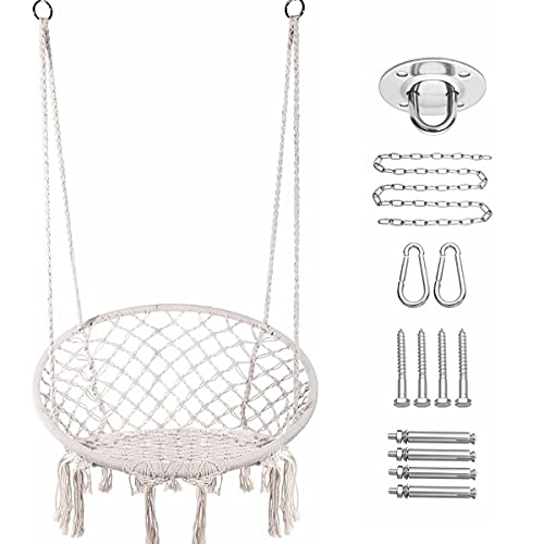 E EVERKING Hammock Chair Macrame Swing, Hanging Cotton Rope Macrame Hammock Swing Chair for Indoor, Outdoor Home, Patio, Porch, Deck, Yard, Garden, Max Weight: 260 Pounds (White+Hardware Kit)