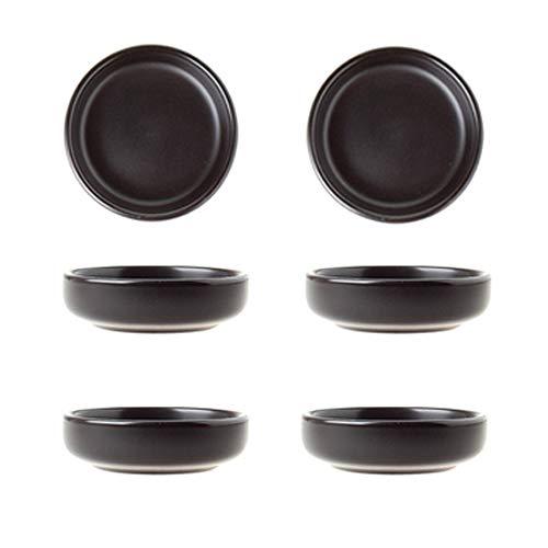 Plato de cerámica Negra para Salsa de Soja, Mini Plato de condimentos, Platos de condimentos/tazón de Soja para Sushi, Platos para Servir bocadillos, Platos de Salsa para Sushi