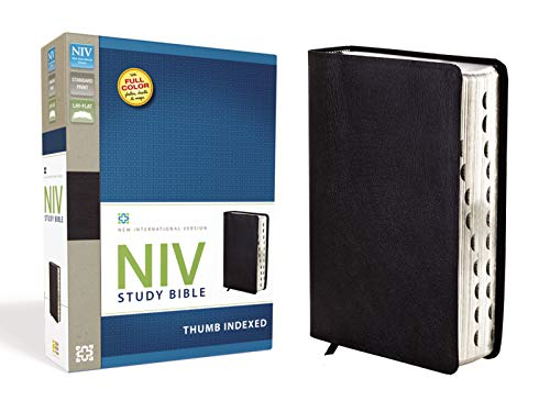 NIV Study Bible, Bonded Leather, Black, Red Letter Edition, Thumb Indexed