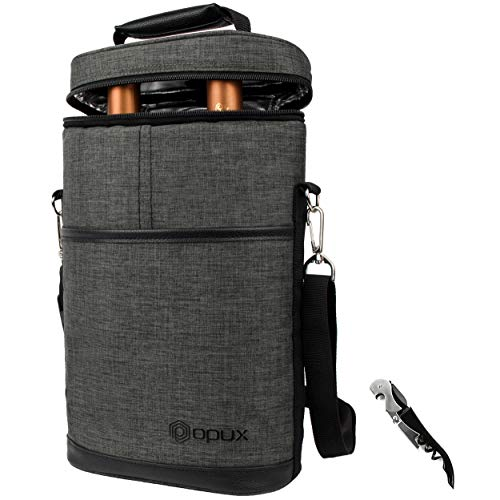 OPUX 2 Bottle Wine Tote Carrier | Insulated Wine Cooler Bag for Travel Picnic BYOB | Portable Wine Carrying Bag, Padded Protection, Shoulder Strap, Corkscrew Opener - Charcoal Grey