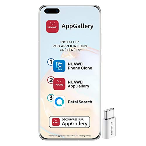 Huawei P40 Pro Smartphone débloqué 5G (6,58 pouces - 8/256go - Double Nano SIM EMUI 10.1 & AppGallery) Argent + 52VA Adapter - Type C Plug [Version Française]