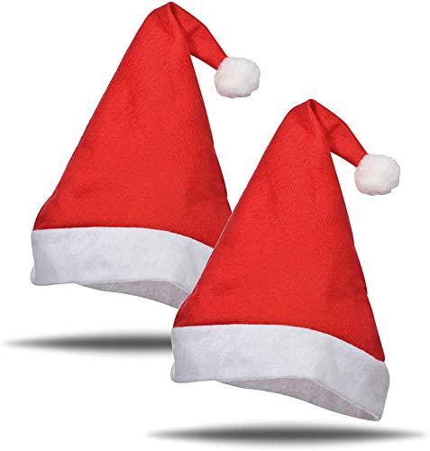 TK Gruppe Timo Klingler 2X Weihnachtsmütze Nikolausmütze Mütze Weihnachten Nikolaus rot für Erwachsene Kinder Weihnachtsfeier Weihnachtsmarkt (2X Weihnachtsmütze)
