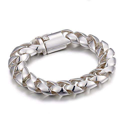 YZJYB 925 Sterling Silber Herren Armband, Runde Form Silber Armreif Aus Massivem, Panzerkette Kettenarmband Für Männe, Herrschsüchtig, Mann Oder Freund