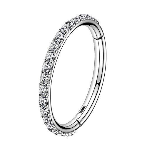 OUFER 16G Stainless Steel Cartilage Earring Hoop CZ Line Helix Earring Hoop Daith Earring Hoop